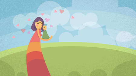 Mother Holding Small Child Embrace Outdoors Vector Illustration