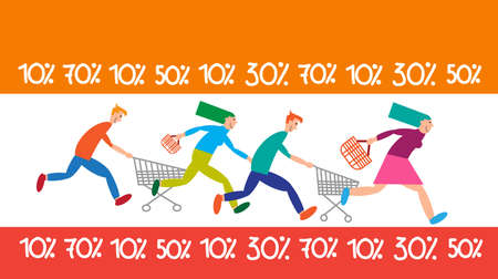 Family Shopping Run Trolley Sale Discount Vector Illustration