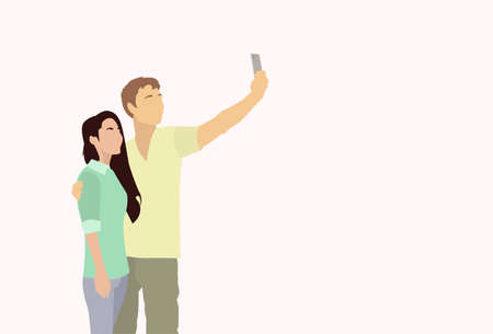 smart phone woman: Silhouette Couple Colorful Man Woman Taking Selfie Photo On Smart Phone Vector Illustration Illustration