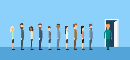 recruiting: Business People Group Sitting In Line Queue Door Flat Vector Illustration