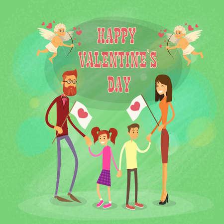 Familia feliz, padres con la ilustración de dos niños de la mano de San Valentín de vacaciones de vector