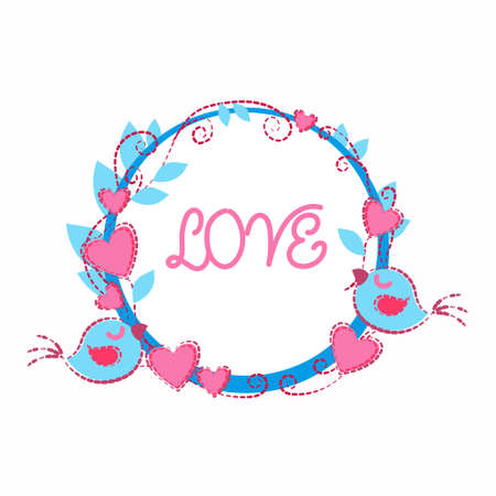 two birds: Two Birds Holding Garland Heart Shape Love Greeting Card Valentine Day Vector Illustration Illustration