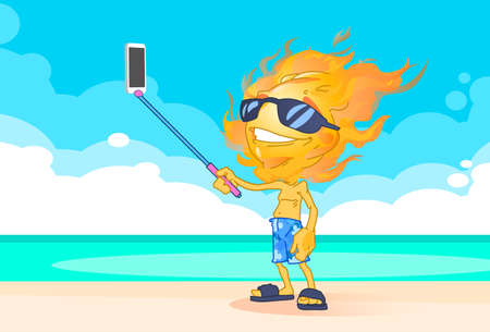 smart boy: Sun Summer Boy Fire Head Taking Selfie Smart Phone Stick  On Beach Illustration
