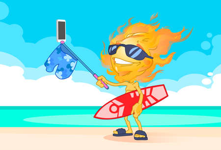 smart boy: Sun Summer Boy Fire Head Taking Selfie Smart Phone Stick Hold Surfboard On Beach Illustration Illustration