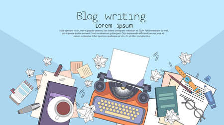Typewriter Author Writer Workplace Desk Top Angle View Copy Space Illustration Vettoriali