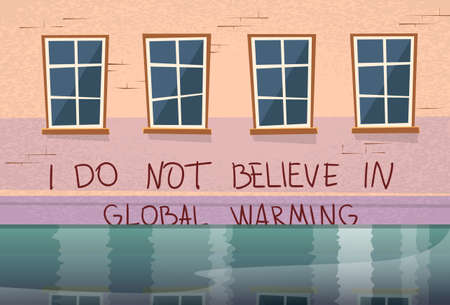 house flood: Global Warming Concept House Under Water Window Flood River Illustration Illustration