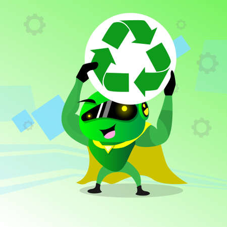 application recycle: Modern Robot Recycle Sign Technology Flat Illustration Illustration
