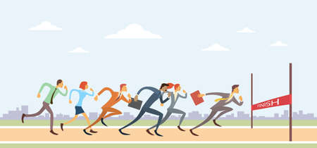 Business People Group Run To Finish Line Team Competition Competition Win Concept Flat Vector Illustration