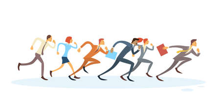 Business People Group Run To Finish Team Leader Competition Concept Isolated Flat Illustration Reklamní fotografie - 52775764