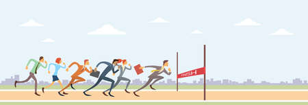 Business People Group Run To Finish Line Team Leader Competition Win Concept Flat Vector Illustration