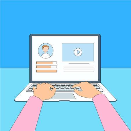 Laptop Hands Type Working Using Computer Thin Line Illustration Illustration