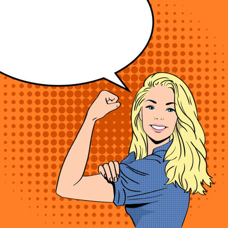 Blonde Woman We Can Do It Chat Bubble Smile Pop Art Colorful Retro Style Concept Feminism Illustration