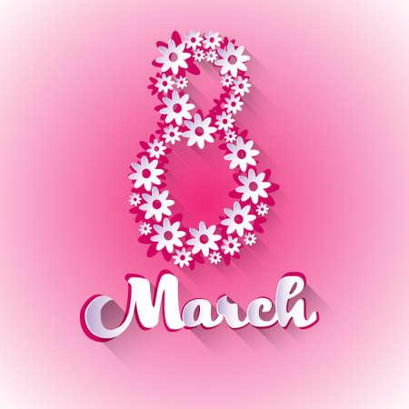8 March International Women Day Greeting Card Vector Illustration