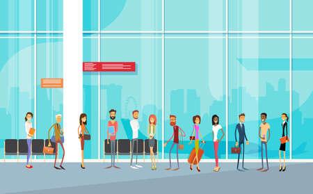 transportation cartoon: Traveler People Airport Hall Departure Terminal Travel Baggage Bag Suitcase, Passenger Check In Luggage Flat Vector Illustration Illustration