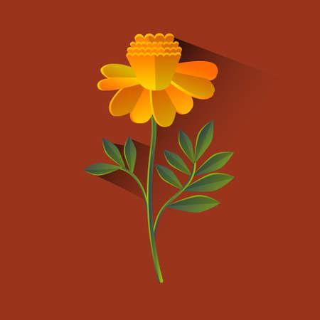 marigold: Marigold Flower Blossom Brown Background Flat Vector Illustration