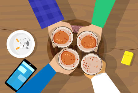 People Hand Group Hold Beer Glasses Bar Table Cheers Flat Vector Illustration 矢量图片
