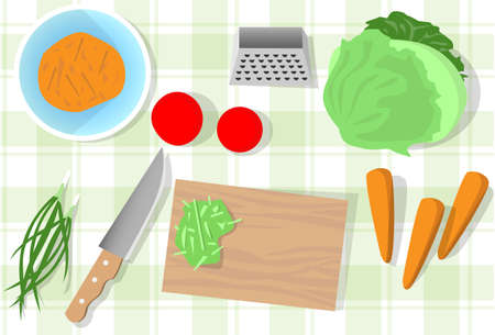 top angle view: Cooking Table Kitchen Vegetables Healthy Food Top Angle View Flat Vector Illustration