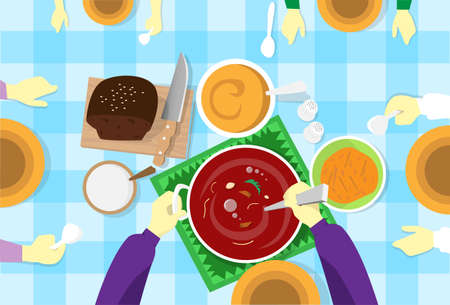 wait: People Sit At Table, Wait, One Stir Soup Flat Vector Illustration