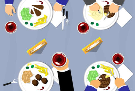 top view people: Restaurant Table Top View, People Group Eating, Plates Wine Glass Flat Vector Illustration