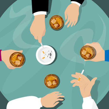 bar table: People Hand Group Hold Whiskey Glasses, Smoking Bar Table Flat Vector Illustration