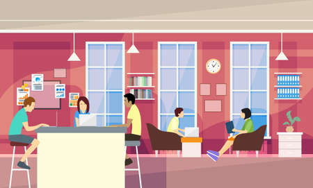 近代的なオフィスにカジュアルな人々 のグループに座ってチャット、学生大学キャンパスのベクトル図