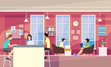 Grupo ocasional de la gente en la moderna oficina Sit chat, la ilustración de Estudiantes de la Universidad Campus vectorial