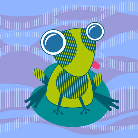 lily leaf: Cartoon Colorful Frog Sit On Water Lily Leaf Vector Illustration