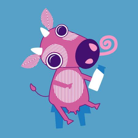 moo: Cartoon Cow Sit Holding Bottle With Milk Flat Vector Illustration