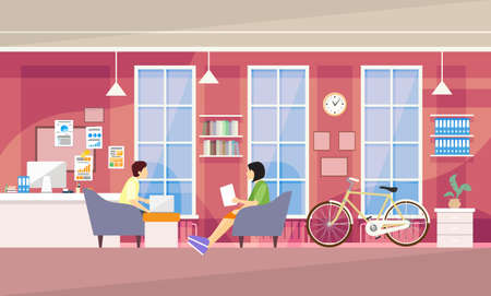 campus: Casual People Group In Modern Office Sit Chatting, Students University Campus Vector Illustration