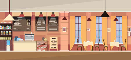 wood furniture: Modern Cafe Interior Empty Flat  Vector Illustration