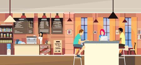 university campus: Casual People Group In Modern Cafe Sit Chatting, Students University Campus Vector Illustration Illustration