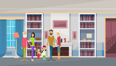big family: Big Family Grandparents, Parents, Two Kids In Modern House Home Living Room Interior Flat Vector Illustration