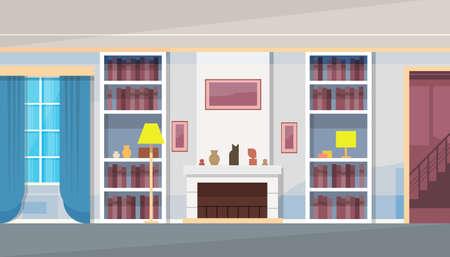 modern interior: Modern House Home Living Room Interior Flat Vector Illustration Illustration