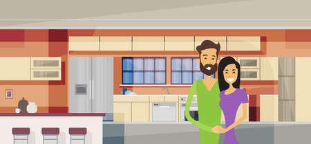 cartoon kitchen: Pareja abrazada en la ilustración de la cocina moderna Interior del vector