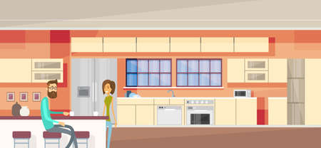 woman smile: Couple In Modern Kitchen Interior, Woman Smile, Man Sit Drinking Tea, Coffee Vector Illustration