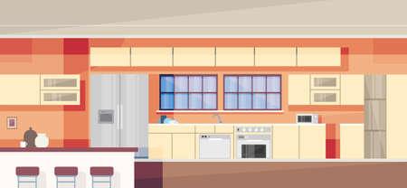 modern kitchen: Modern Kitchen Interior Design Vector Illustration