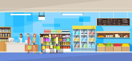 grocery shelves: Big Shop Interior, Sales Woman, People Customers Stand In Line Cash Desk Vector Illustration Illustration