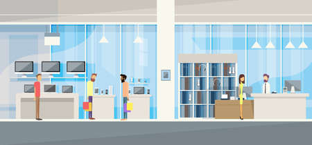 shop assistant: Customers with Assistant in Modern Electronics Store Shop Vector Illustration Illustration