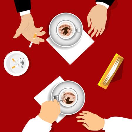 girl drinking water: Two Business Man Tea Coffee Break, Cup Mug, Smoke Cigarette Cafe Flat Vector Illustration Illustration