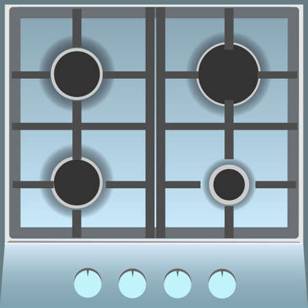 stove top: Empty Gas Stove Top View Flat Vector Illustration Illustration