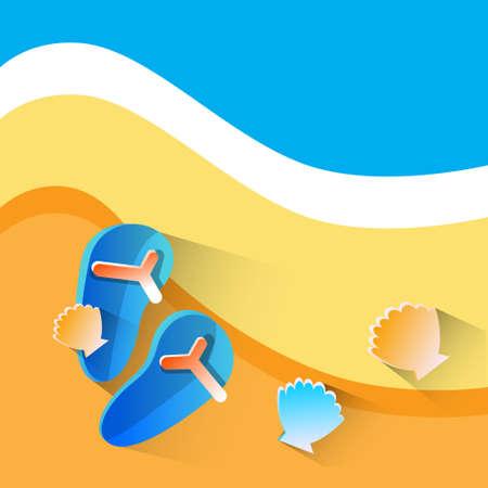 summertime: Flip Flops On Beach With Sea Shell Summer Vacation Flat Vector Illustration