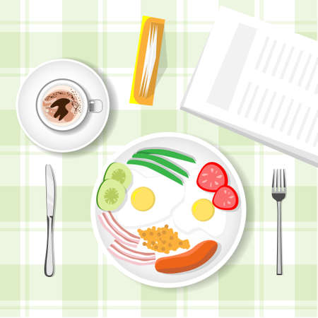 yea: Breakfast Table, Porridge, Sausage, Cup Mug With Yea Coffee Top View Vector Illustration Illustration