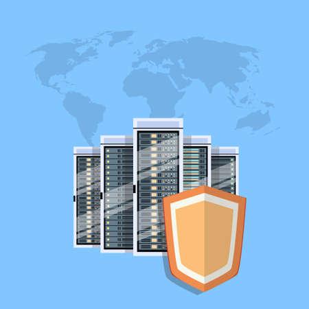 Shield Data Center Protection, Internet Security Information Privacy Database Server Flat Vector Illustration Vettoriali