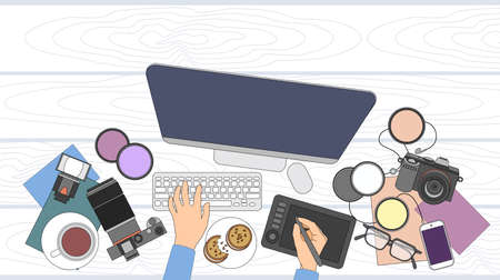 retouch: Designer Photographer Workspace Desk With Camera Computer Thin Line Vector Illustration