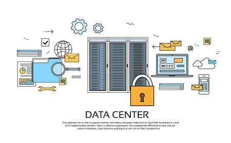 Centro de datos de servidor de Hosting dispositivos de equipo de información de base de datos de la ilustración de la bandera Tecnología delgada línea vector
