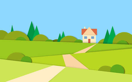 green grass and blue sky: Summer View Landscape Road To House Green Grass Blue Sky Flat Vector Illustration