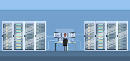 internet servers: Man Working Data Center Technical Room Hosting Server Database Flat Vector Illustration