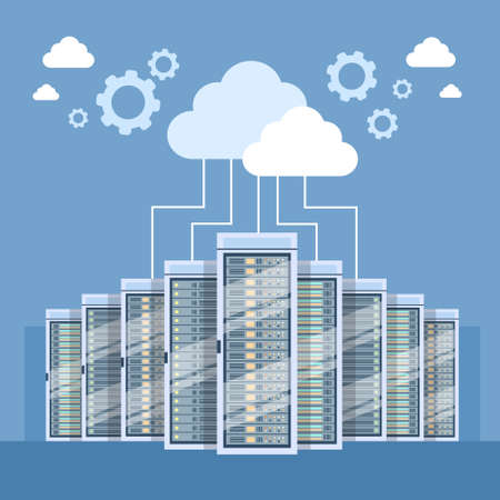 Data Center Cloud Connection Hosting Server Computer Information Database Synchronize Technology Flat Vector Illustration Vettoriali