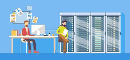 administrador de empresas: Administrador de la gente de trabajo del centro de datos Trabajador Técnico hombre que se sienta turística de alojamiento servidor de base plana Ilustración del vector