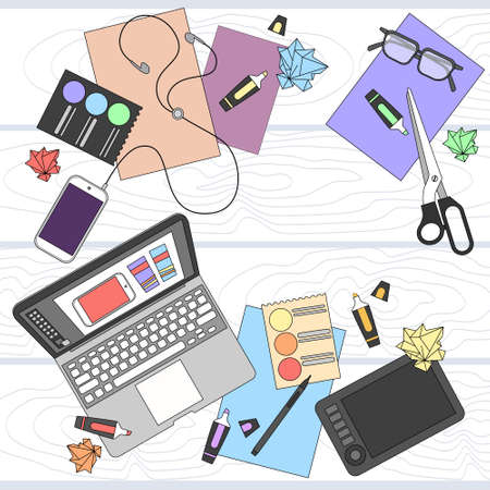 top angle: Designer Work Place Table Design Top Angle View Vector Illustration